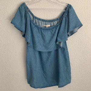 7 for all Mankind | Chambray short sleeve blouse S